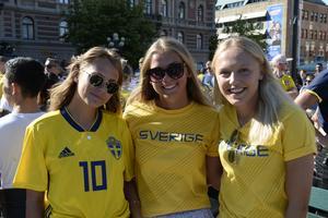 Från vänster: Elsa Burvall, Sara Wexén och Olivia Wänglund. Alla var övertygade om i halvtidspaus om vilka som skulle vinna: