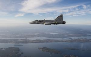 Testflygning av nya JAS 39 Gripen E i Linköping. Foto: Lars Pehrson