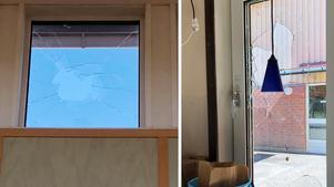 Flera gånger har skolan i Heby vandaliserats. På den vänstra bilden har fönstret gjorts sönder från taket.
