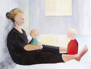 """En tid efter Ingrids död och lillasyster Iris födelse målade Lina Schollin Ask """"Mötet"""", en tavla i vilken hon låter de båda barnen – det som lever och det som dog – mötas för första gången. – I tavlan ser jag verkligen ut som en sten. Och det kändes också så, man blir lamslagen, rörelserna blir långsamma – som om kroppen bara drar i nödbromsen. Bild: """"Mötet"""" målat av Lina Schollin Ask i akryl, 2010"""