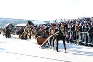 Hästensir Henrik med Lasse och Marta Styf var första ekipage in på invigningen Foto: Anna Karin Bodell