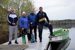 Breddsamordnare Christoffer Carlsson, medarrangör Lena Steen, arrangör Annelie Hamrin och lagkapten Åke Malmberg var väldigt nöjda med helgens drakbåtsläger.
