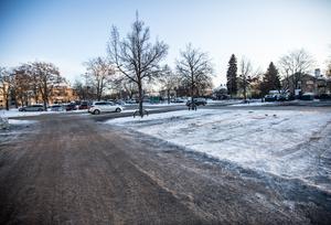 Platsen för de första hyreshusen, Maximtorget, österut mot Maximteatern.