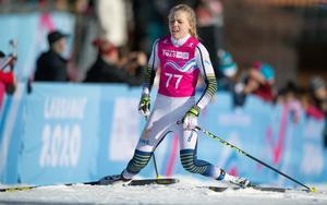 Märta Rosenberg har precis gått i mål i guldloppet i Lausanne. Foto: IOC
