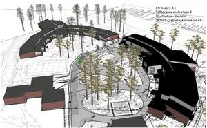 Den nya byggnaden kopplar samman lågstadiet och den raka byggnaden där Tallbo särskola ligger och skapar en naturlig innergård där träden ska bevaras. Illustration: Maxim arkitekter.