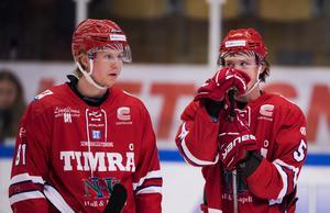 Jens Lööke tillsammans med Jonathan Dahlén i Timråtröjan, 2016. Foto: Nils Jakobsson/Bildbyrån