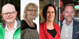 Från vänster: Torbjörn Ahlin (C), Ewa Sundkvist (KD), Karin Sundin (S) och Andreas Svahn (S) ha svarat på en debattartikel om Region Örebro läns verksamhet. Bilden är ett montage.