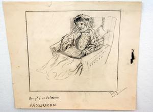 Teckning av Bengt Lindström när han var cirka 7 år. Kanske är det ett självporträtt av en gosse som ligger i påssjukan.