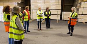 Ett tiotal kvinnor med den gemensamma nämnaren företagare deltog i nätverksträffen hos Horndals komponent/Horndals Virkes Outlet där Susanne Holmberg (till höger) var ciceron.