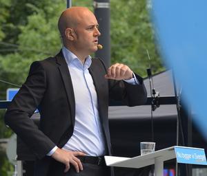 Moderatledaren och statsministern Fredrik Reinfeldt håller sitt omstridda  tal