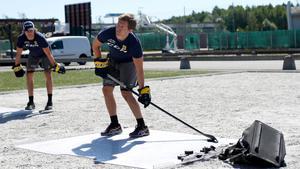 Albin Sethsson under sommarträningen utanför Scaniarinken.