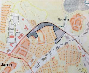 Den detaljplan som ska tas fram omfattar ett område längs Rönnvägen. Bokloks planer gäller den västra delen. Även det större området i öster, snett emot Norrtuna, anses lämpligt för bostäder. Illustration: Södertälje kommun