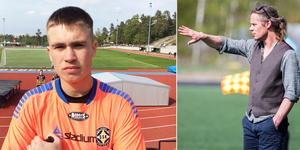 Isac Ullsten Granlund storspelade i SSK-målet. Till höger tränaren Michael Andersson.