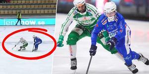 Robin Öhrlund tvingades lämna isen skada efter en tackling i slutminuterna mot VSK. Bild: Bandyplay / Andreas Tagg