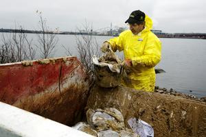 Lars Skoglund välter ut den klibbiga oljan i en container.