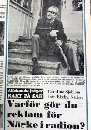 Ur NA 7 juni 1969: Intervju med radio- och tv-profilen Carl-Uno Sjöblom, som i sina program i Sveriges Radio gärna puffade ett slag för Närke.