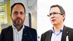 Jörgen Berglund (M) och Peder Björk (S) vill båda komma överens om arenan.