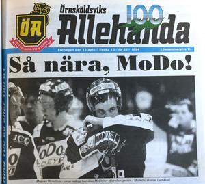 ÖA 15 april 1994. Magnus Wernblom – en av många besvikna Modoiter efter slutsignalen i Malmö isstadion i går kväll.