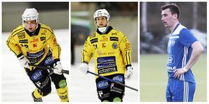 Bandyprofiler som lirar fotboll, från vänster: Jesper Öhrlund, Vadim Arkhipkin och Anton Dahlberg.