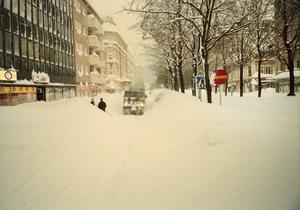 """Först på måndagsmorgonen gick ett pressmeddelande ut där """"alla som vistas i Gävle"""" uppmanades att hålla sig inomhus. Bild: Lars Wigert"""