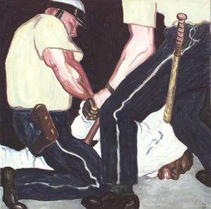 Torsten Bergmark målade dagsaktuella ämnen som raskravallerna i USA.