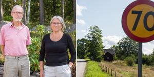 Hans och Margaretha Olsson är upprörda över att Trafikverket plötsligt satt upp 70-skyltar på Sundbovägen.