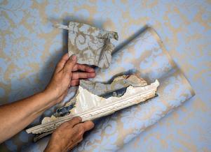"""Sju lager tapeter har Maria sparat. Det vackraste lagret såg ut att stämma med tidigt 1900-tal, så det tog hon till företaget på Långholmen i Stockholm som gör handtryckta tapeter. De tryckte upp, och nu finns det i handeln under namnet """"Den gamla stugan""""."""