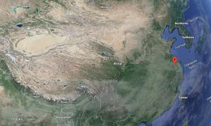 Den röda markeringen visar var Changzhou ligger, staden där Nils Klöfver leder Wycombe Abbeys gitarrundervisning.