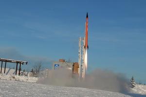 Raketen lyfter Älvdalens skjutfält.