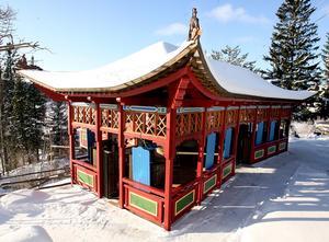 Kinesiska paviljongen i vinterskrud. Foto: Arne Henriksson/Arkiv