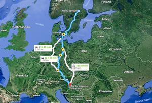 45-åringen greps i Slovenien. Från Avesta är det en sträcka på närmre 210 mil som bör ha tagit cirka 23 timmar att åka – exklusive stopp som den misstänkte mannen bör ha blivit tvungen att göra med snart treåriga flickan i bilen. Foto: Skärmdump från Google Maps