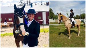 Montage. Ludwig Faxén, Strömsunds Ridklubb och hans häst Sir Victory placerade sig på andra plats i MsvB2.  Hemmaryttaren Johanna Johansson på sin häst C vann två av sina tre starter i helgen.