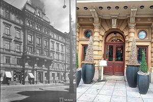 Hotell Kämp under Vinterkriget och idag. Foto SA-kuva och Leif Rosas.