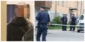 Den åtalade 21-årige Sorundabon till vänster och polisens avspärrningar på Turingegatan efter knivdådet till höger.