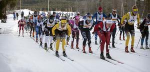 Lina Korsgren, längst fram i vänstra ledet, var med i täten redan från start. Bakom henne syns Britta Johansson Norgren.
