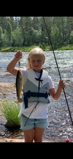 Stina Persson, 8 år, tog en öring från stenkistorna i Linsellborren. Det ska börjas i tid.
