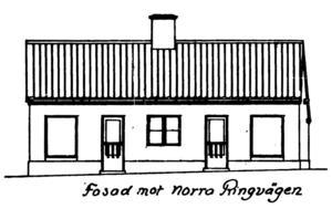 Ritning av fasaden mot Norra Ringvägen, godkändes av byggnadsnämnden år 1923.