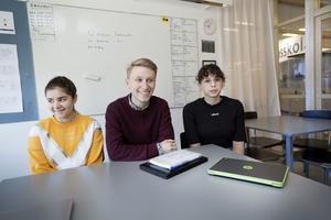 Elevrådets Rahaf Alobaidi, Jakob Lindwall och Caitlin Rorabaugh hade olika regler på de skolor de gick på innan de kom till Kunskapsskolan.