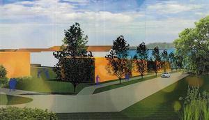 Så här ungefär kan det byggas i framtiden  i hörnet av Norra Uppfartsvägen och Bagerivägen. Illustration: Aedis arkitekter