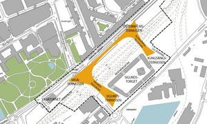 Så utformas nya resecentrum med passager, torg och höga hus.                  Bild: Västerås stad