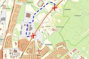 Den streckade blå linjen visar hur trafikanter får köra på Arenavägen när Litsvägen är avstängd. Karta: Östersund kommun.