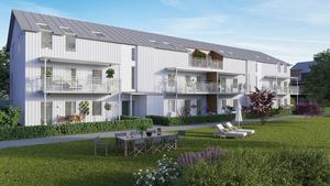 Ett av husen i Frostbrunnsparken där 41 bostadsrätter blir klara nästa år. Illustration: Studio 3D