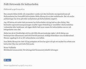 Skärmdump av inlägget på Bollnäs kommuns hemsida.
