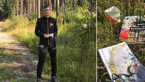 Tommy Oscarsson, Ånge Orienteringsklubb, med sommarens naturpass som finns på tre orter.