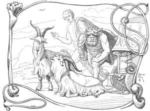 Tor tillsammans med sina  bockar Tanngnjost och Tanngrisner . illustration av Lorenz Frølich från 1895.