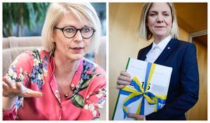 Regeringen lär de kommande åren inte ha någon möjlighet att sänka det totala skattetrycket, oavsett om det är Magdalena Andersson (S) eller Elisabeth Svantesson (M) som bestämmer. Foto: Montage Janerik Henriksson/Lars Pehrson/TT