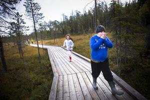Skolbarnen fick vandra fram längs de nybyggda trägångarna.