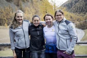Oktober 2017. Emma Wikén är på landslagsläger i Val Senales. Här med Stina Nilsson, Anna Haag och Ida Ingemarsdotter. Foto: TT