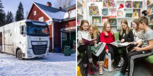 Varje år görs omkring 35000 lån i kommunens bokbuss. Vi följde med på Sidskogen-turen, som inleddes på Båtbackens friskola i Nor, och sedan gjorde uppehåll i både Lörstrand och Sörby.