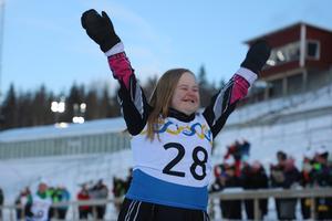 Maja Lundberg i målgång.